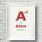 A4 Personalised Alphabet Nursery Art Print - boys name A - For Baby or Child