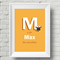 A4 Personalised Alphabet Nursery Art Print - boys name M - For Baby or Child