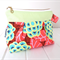 Make-up Pouch Cosmetic Purse Zipper Opening in Green, Red, Blue Flower Fabric
