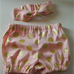 Pink With Gold Dots Shorties and Headband Nappy Cover
