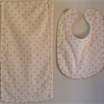 Newborn Baby Girl Bib and Burp Cloth Set - Pink spots!
