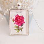 Satellite Rose postage stamp pendant