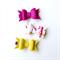 Autumn Mini Bow Clip Set - Felt - Fabric - Mustard - Raspberry - Floral