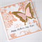 Mothers Day Card - 3D Butterfly Pink Peach Gold Glitter Floral Background