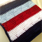 Triangle Crochet Baby Boys Blanket, Navy Blue, Red, White and Light Blue
