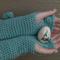 Vintage Virtues Mint Wool Crochet Fingerless Gloves