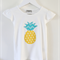 Yellow Polka Dot Pineapple with Chevron Leaves on a Cotton Onesie/Blouse/Singlet