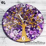 Tick Tock - Natural Tree of Life in PURPLE Buttons Resin clock - silent motion