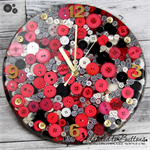 Tick Tock - Red Black and White Stripes Resin Button clock - silent motion