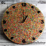 Tick Tock - SPRINKLES - 100's & 1000's Resin Button clock - silent motion