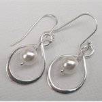Sterling Silver Infinity Earrings With Pearl Accent
