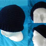Crocheted Navy Blue Beanie