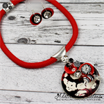 Cluster Button Pendant & Earrings - Red Black White Silver - Resin Swirls
