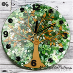 Tick Tock - Natural Tree of Life in GREEN Buttons Resin clock - silent motion