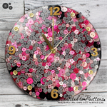 SECONDS STOCK - REDUCED -Tick Tock - Pink Black White Stripes Resin Button clock