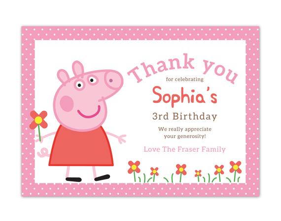 Printable Birthday Thank You Card Peppa Pig Coco Ella