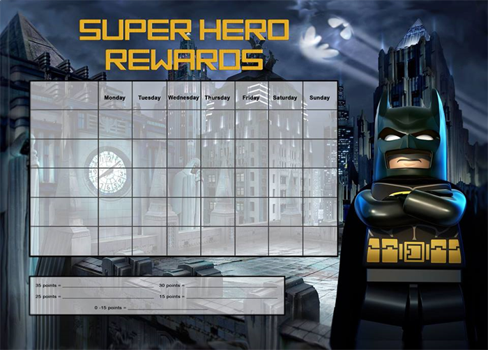 BATMAN Reward Chart, Designed by myself and printed as full A4 size ...