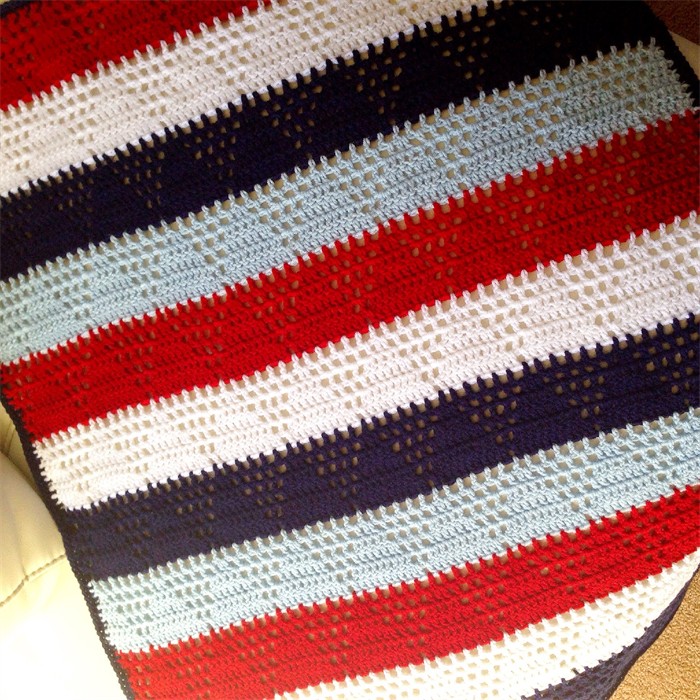 Triangle Crochet Baby Boys Blanket Navy Blue Red White And Light