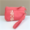 Brooke Coin Purse:  coral pink with Ink & Spindle screen-printed fabric inset