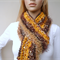 Hand knit scarf - Gold and Brown - Hawthorn scarf - designer sport fan scarf