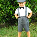 Boys Pants with Braces Grey Pinstripe - size 4 to 6. Page Boy, Cake Smash