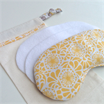 Lavender Eye Mask:  geometric yellow with stacked floral scroll backing