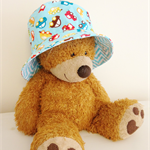 Baby boy 3-6 month old summer hat in cute car fabric