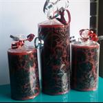 "Red & Black ""Damask"" Candle - Gift Set"