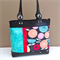Mini Winnie Tote:  Teal, Red and Black Floral with Black Leather Trims