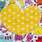 Kids Apron Cats 'n' Hearts yellow - girls lined kitchen/baking/craft/play/art