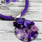 Popping Purple Button Pendant Earring - Silver Toned Findings on Stunning cord