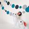 Paper Dot Confetti Circle Garland Greys & Aqua 3 Metres for Parties, Decoration
