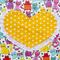 Kids Apron Cats 'n' Hearts yellow - girls lined kitchen/baking/craft/play/art