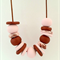 Copper and Pastel Pink Polymer Clay Necklace