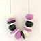 Lavender, Marble and Metallic Emerald Polymer Clay Necklace