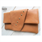 Cognac Leather foldover clutch