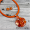 Orange Flame Button Pendant Earring - Silver Toned Findings on Stunning cord
