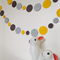 Paper Dot Confetti Circle Garland Greys & Yellow 3 Metres for Parties Decoration