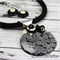 Zebra Stripes Button Pendant Earring - Silver Toned Findings on Stunning cord