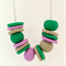 Lavender, Green and Latte Polymer Clay Necklace