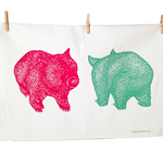 Wombat print tea towel // Wombat front + back tea towel // tea towel