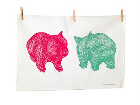 Wombat print tea towel // Wombat front + back tea towel // tea towel