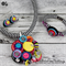 Cluster Rainbow Toy Button Pendant Necklace Earrings Cuff set - Black White Cord