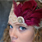 Vintage Virtues Lace with Crimson Feathered, Diamante Headpiece