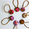 Pony Tail Holders - Set of 7  Hearts Button Elastic Hair Tie Mixed Hearts Cotton