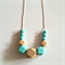 Mint & Natural Wooden Geometric Necklace