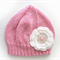 Girls Retro Pink Knitted Wool Beanie Hat with Flower & Buttons SIZE 4 5 6 7