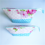**FREE POST**   Set of TWO Pouches  - Pink Mums & Roses