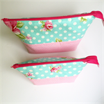 **FREE POST**   Set of TWO Pouches  - Teal Mums & Roses