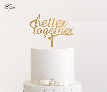 Cake topper by Oxee, metallic gold and silver personalized cake toppers